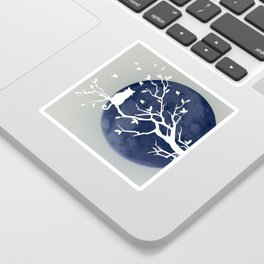 Blue moon | Dark moon | Cat on tree branch | Witchy cat | Wicca Sticker