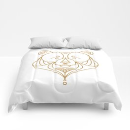 Gold Bear One Comforters