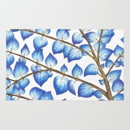 Breezy Blue Leaves Rug