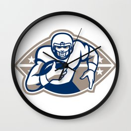 American Football Runningback  Star Front Wall Clock
