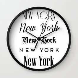 New York City Quote Sign, Digital Download, Calligraphy Text Art, World City Typography Print Wall Clock