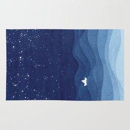 blue ocean waves, sailboat ocean stars Rug