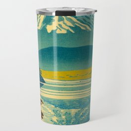 Japanese Woodblock Print Vintage Asian Art Colorful woodblock prints Mount Fuji Travel Mug