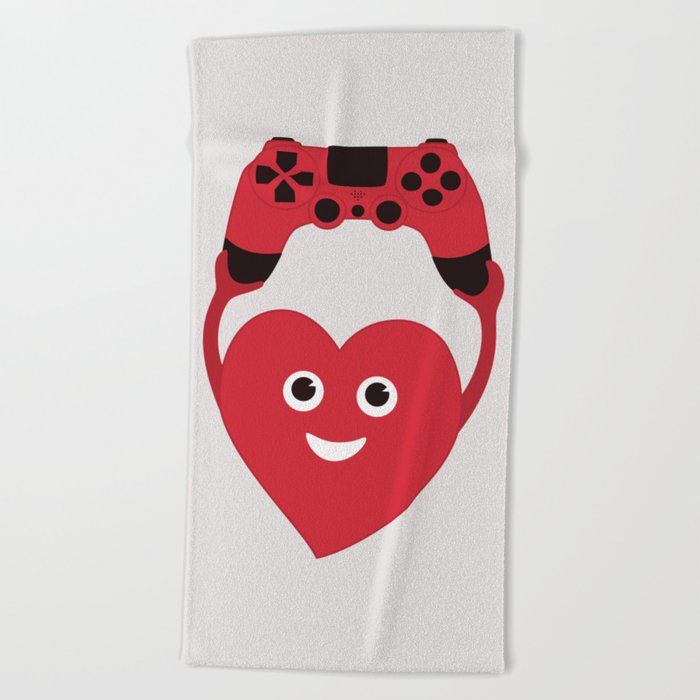 Gaming Heart Beach Towel