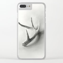Lost and Found - Deer Antler Pencil Drawing Clear iPhone Case