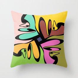 Four Faces Abstract Throw Pillow