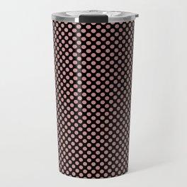 Black and Rosette Polka Dots Travel Mug