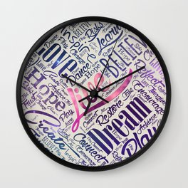 Inspirational Motivational Word Cloud Art Wall Clock