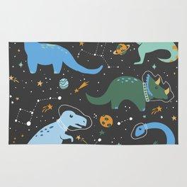 Dinosaurs in Space in Blue Rug