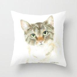 catitude - brown tabby cat Throw Pillow