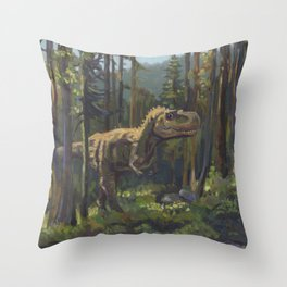 HUNT, T.rex dinosaur painting by Frank-Joseph Throw Pillow