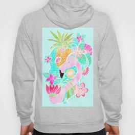 Tropical summer watercolor flamingo floral pineapple Hoody