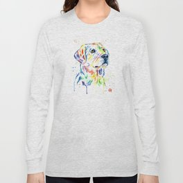Yellow Lab Colorful Watercolor Painting - Puppy Star Long Sleeve T-shirt