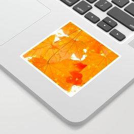 Fall Orange Maple Leaves On A White Background #decor #buyart #society6 Sticker