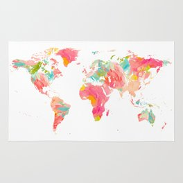 world map pink floral watercolor Rug