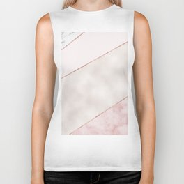Spliced mixed pink marble and rose gold Biker Tank