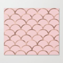 Rose gold mermaid scales Canvas Print