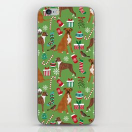 Boxer dog christmas pattern must have holiday themed dog breed pet friendly accessories for home iPhone Skin