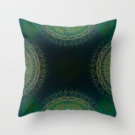 """Dark Clover Green & Gold Mandala Deluxe"" Throw Pillow"