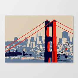 Golden gate bridge vector art Canvas Print