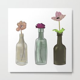 flowers in glass bottles . Pastel colors . ( https://society6.com/totalflora/collection ) Metal Print