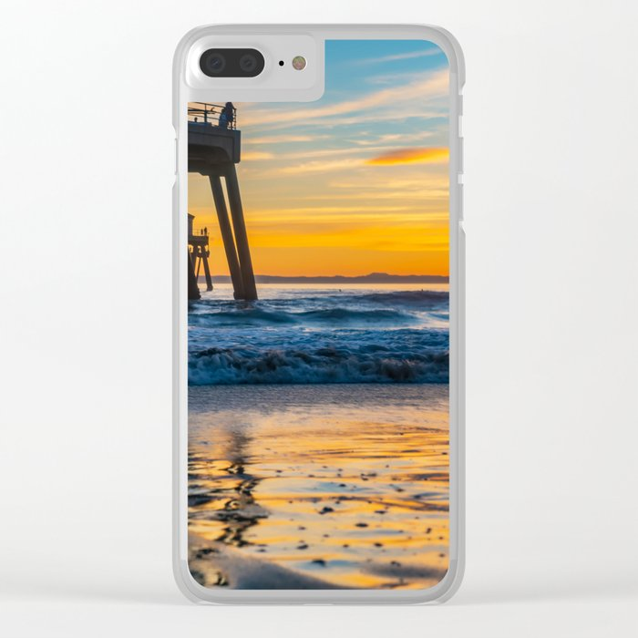 Wet Sand Island Sunset Clear iPhone Case