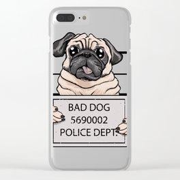 mugshot dog cartoon. Clear iPhone Case