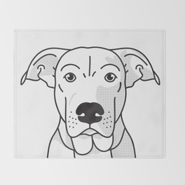Labrador Mix Dog Portrait -Custom, black palette, minimal Throw Blanket