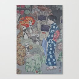 1926 Hiroshi Yoshida Japanese Woodblock Print Honest Grocer Canvas Print