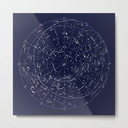Constellation Map Indigo Metal Print