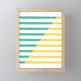 Beach Stripes Green Yellow Framed Mini Art Print