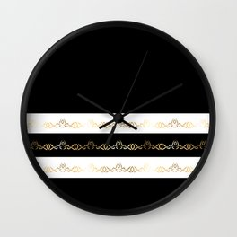 Black White Gold Pattern Wall Clock