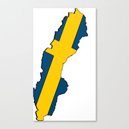 Sweden Map with Swedish Flag Canvas Print