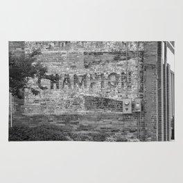 Champion Spark Plugs Vintage Sign | Kinston, NC Rug