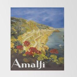Vintage Amalfi Italy Travel Throw Blanket