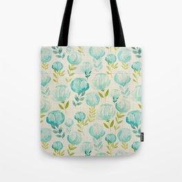 Vintage Aqua Blossoms Tote Bag