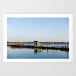 Hut by the river Art Print