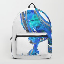 Blue and White Contemporary Art - Swirling 2 - Sharon Cummings Backpack
