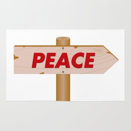 Signpost indicating the peace Rug