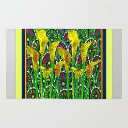 GREEN ART DECO YELLOW CALLA LILIES ART Rug