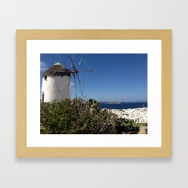 Mykonos Greece - Windmill and the Sea Framed Art Print