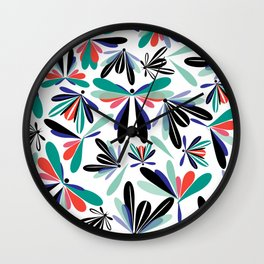 Colored poster small insects, butterflies, dragonflies, spring invitation Wall Clock