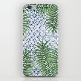Moroccan tiles and palm leaves iPhone Skin
