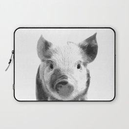 Black and white pig portrait Laptop Sleeve