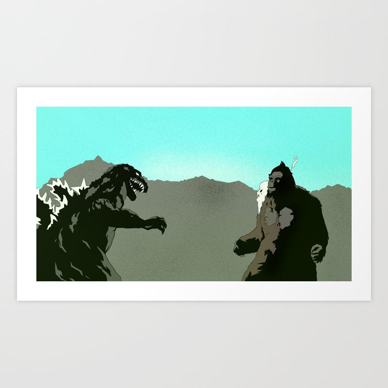 King Kong Vs Godzilla Art Print by 100rings PRN6551427