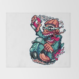 Scooter Driver - GREEN Throw Blanket