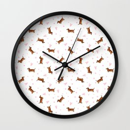 Dachshund Pattern - White Wall Clock