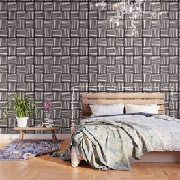 Bold Graphic Memphis Pattern, Black & Pink Blocks & Lines Wallpaper