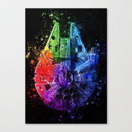 Millennium Falcon Splash Painting - Star ship Wall Art Canvas Print