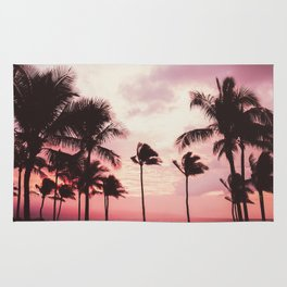 Tropical Palm Tree Pink Sunset Rug